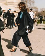 shoes,high heel sandals,snake print,black jumpsuit,black blazer,oversized,blue shirt,jumpsuit,snake skin