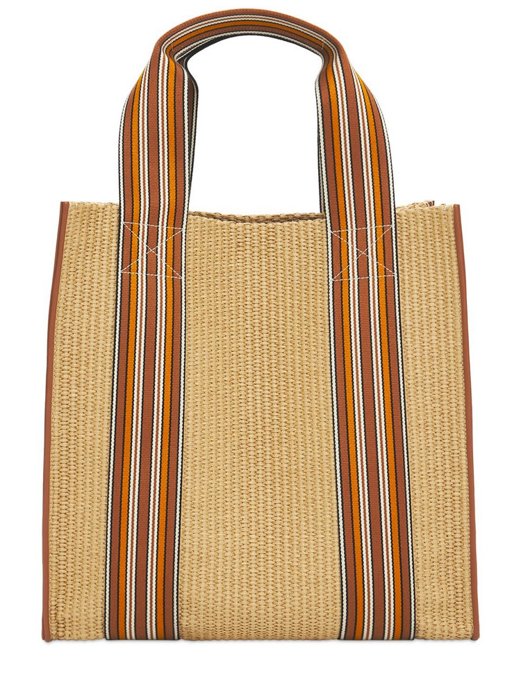 LORO PIANA The Suitcase Woven Tote Bag W/ Leather in natural