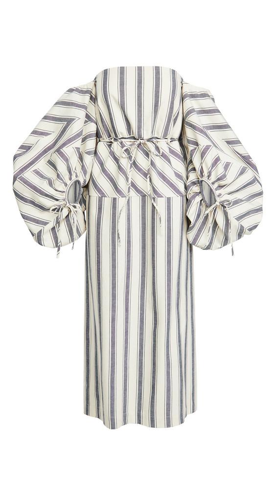 Rosie Assoulin Balloon Sleeve Dress in navy / white