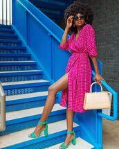 dress,midi dress,pink dress,wrap dress,short sleeve dress,sandal heels,handbag