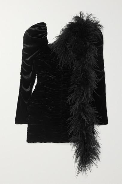 Magda Butrym - Tefe Feather-embellished Ruched Velvet Mini Dress - Black