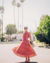 dress,midi dress,red dress,mules,handbag