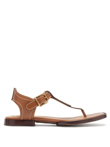 Chloé Chloé - Gaile Topstitched Leather Sandals - Womens - Brown