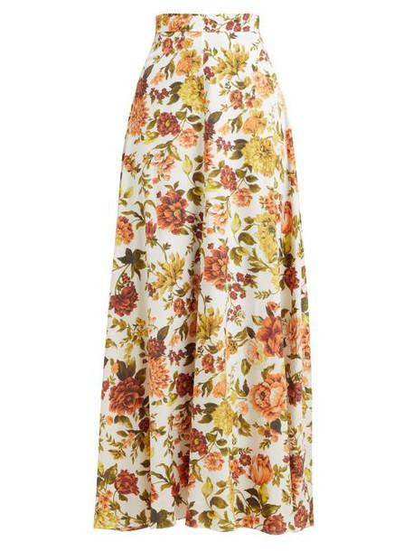 Zimmermann - Zippy Basque Floral Print Silk Blend Maxi Skirt - Womens - Orange Print