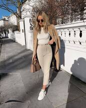 pants,high waisted pants,pleated,white sneakers,bag,beige coat,white top