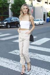 pants,nude,crop tops,top,white top,lauren bushnell,celebrity