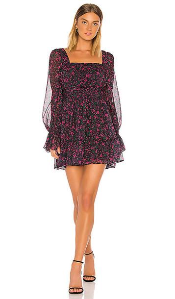Divine Heritage Square Neck Mini Dress in Black,Pink