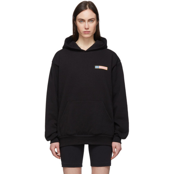 Sporty and Rich Black Flag Logo Hoodie