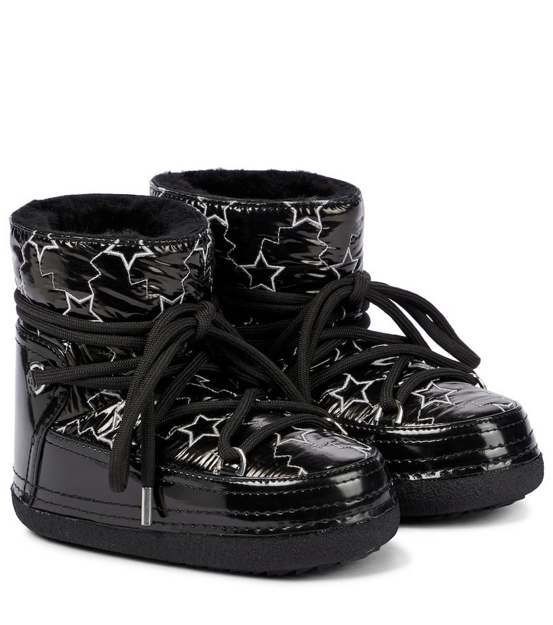 INUIKII Star shearling-lined faux leather snow boots in black
