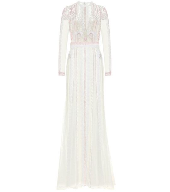 Temperley London Beatrix floral lace gown in white