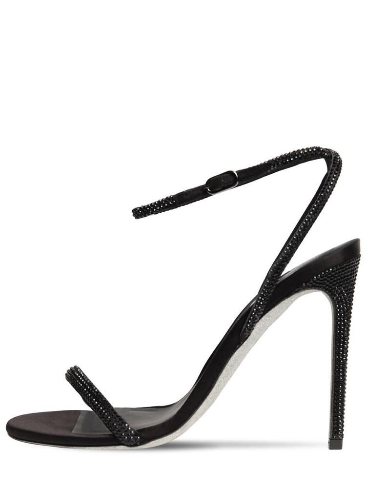 RENÉ CAOVILLA 105mm Embellished Leather & Satin Sandal in black