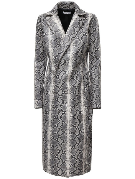 LAQUAN SMITH Snake Print Leather Long Coat in grey