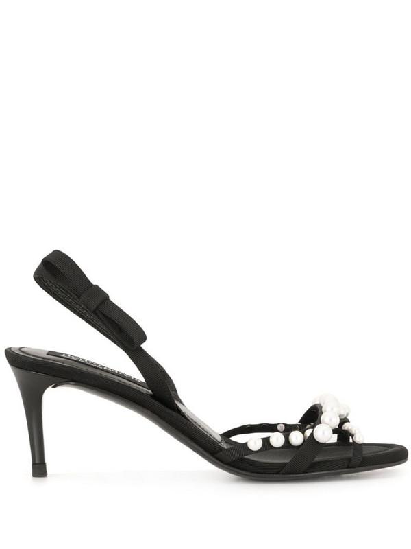Pedro Garcia pearl embellished sandals in black