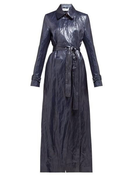 Gabriela Hearst - Dunne Waxed Trench Coat - Womens - Dark Blue