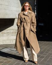 coat,trench coat,long coat,white pants,pleated,flare pants,heel boots