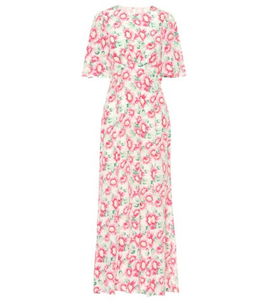 Les Rêveries Floral silk maxi dress in pink
