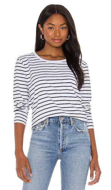 Seafolly Vacay Stripe Long Sleeve Top in Black & White