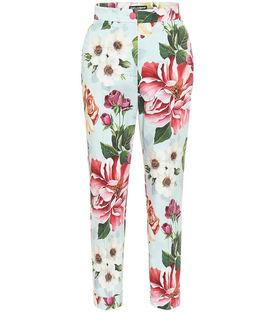 Dolce & Gabbana Floral high-rise straight pants in blue