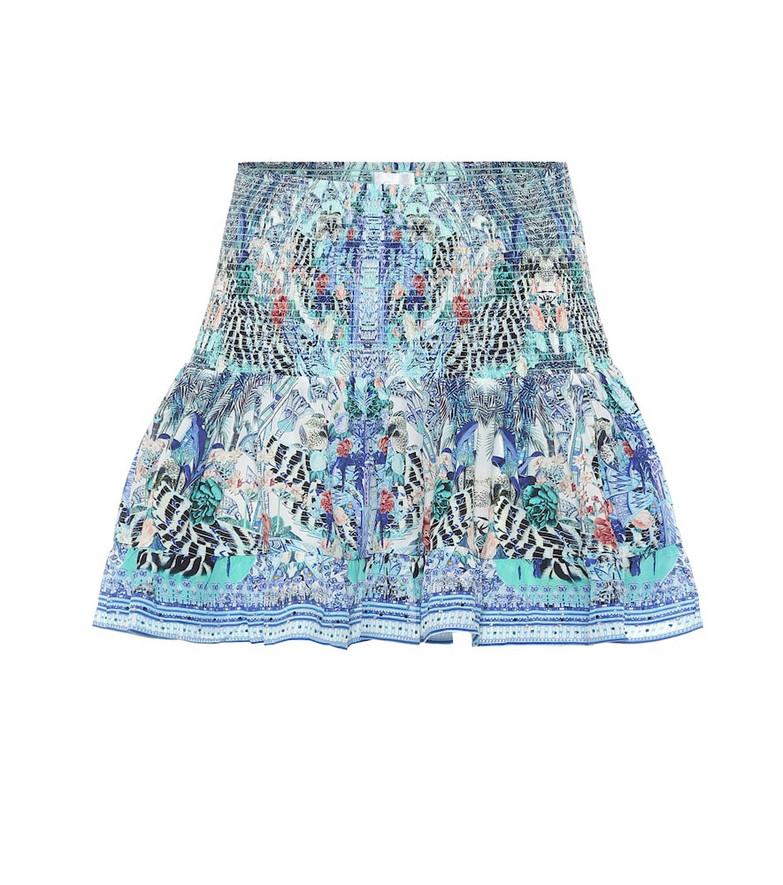 Camilla Printed silk miniskirt in blue