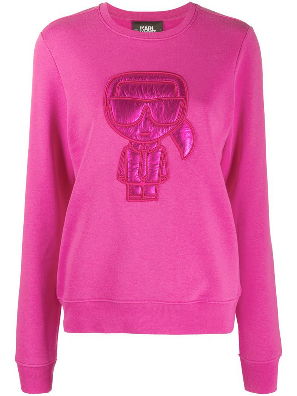 Karl Lagerfeld Ikonik Puffer Karl cotton sweatshirt in pink