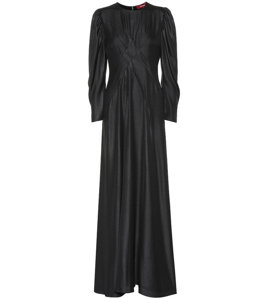 Sies Marjan Virginia hammered satin maxi dress in black