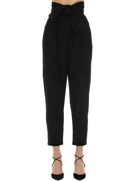 ZIMMERMANN High Waisted Suede Pants in black