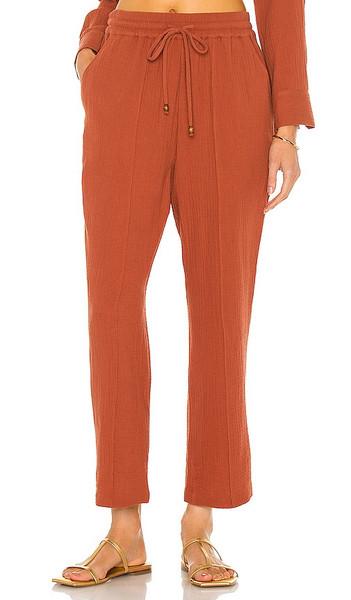 JONATHAN SIMKHAI Rosie Crop Pant in Rust in brown