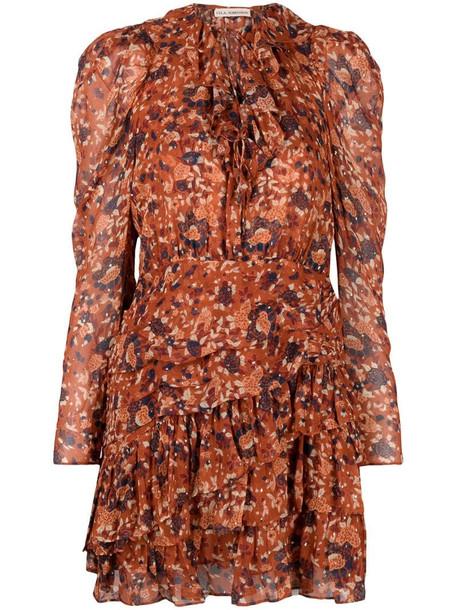 Ulla Johnson Cecily Poppy-print mini dress in orange