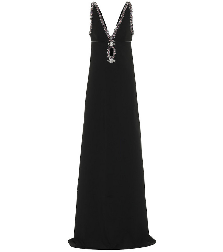Gucci Crystal-embellished crêpe gown in black