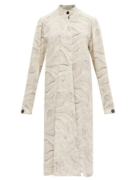 Lemaire - Draped Tie Marble Print Silk Dress - Womens - White Black