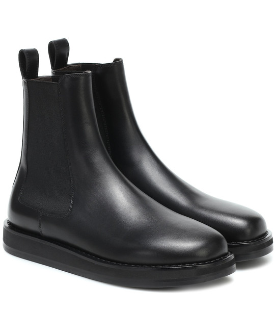The Row Gaia leather ankle boots in black