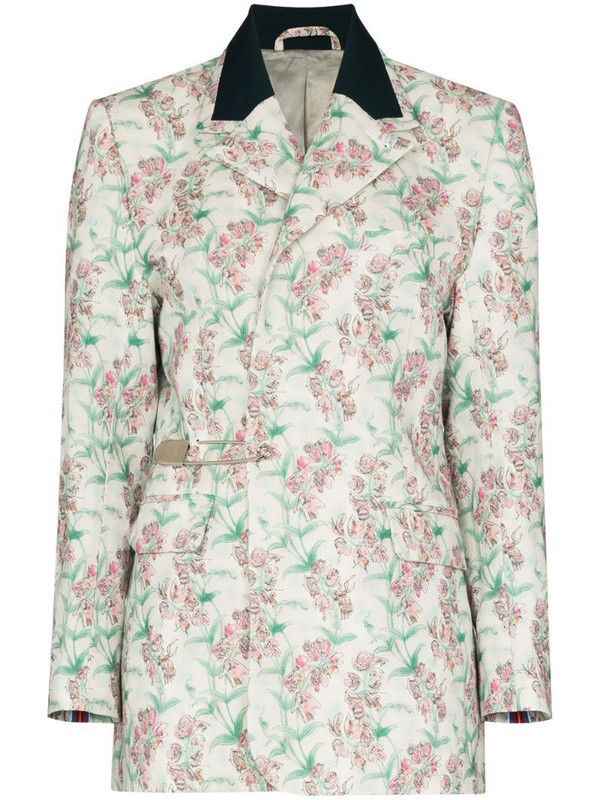 Charles Jeffrey Loverboy floral print single breasted blazer in white