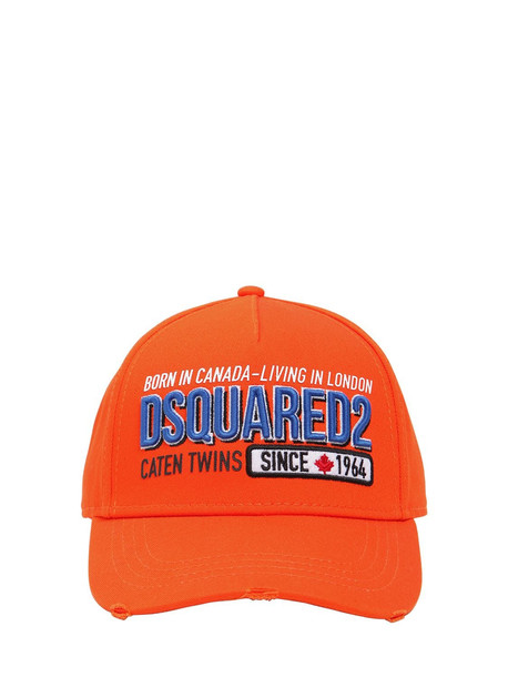 DSQUARED2 Embroidered & Printed Cotton Canvas Hat in orange
