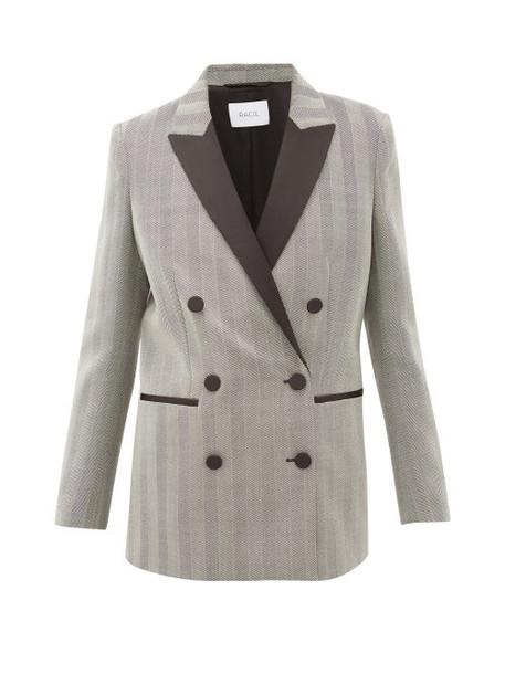 Racil - Aquila Satin-lapel Herringbone-wool Blazer - Womens - Grey