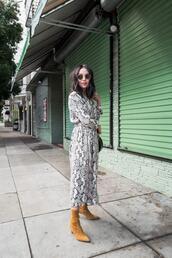 the fancy pants report,blogger,dress,coat,shoes,bag,sunglasses,snake print,snakeskin dress,mustard shoes,boots