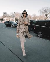 shoes,knee high boots,trench coat,skinny jeans,bag