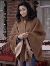 coat,vanessa hudgens,wool coat,wool,brown,jacket,brown coat,shawl,poncho