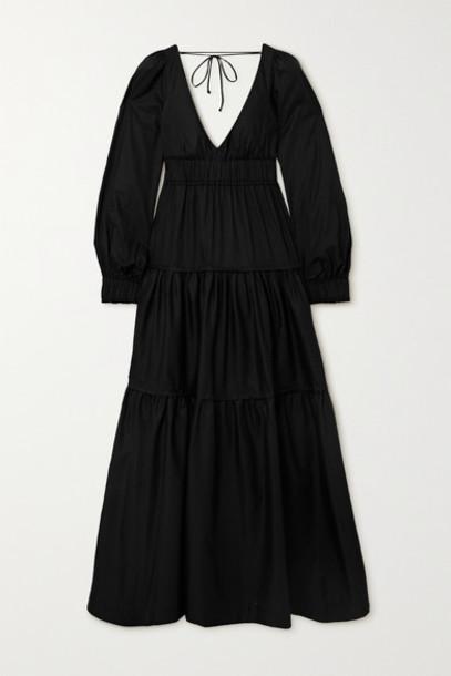 Three Graces London - Theodora Open-back Tiered Cotton-poplin Maxi Dress - Black