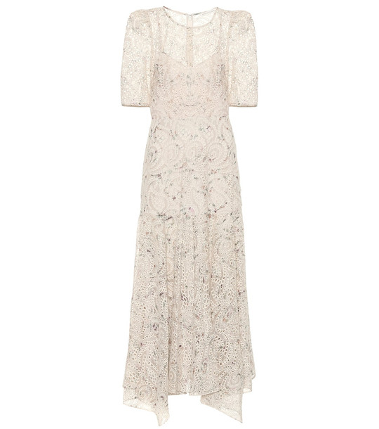 Veronica Beard Balsam printed chiffon maxi dress in beige