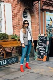 to be bright,blogger,jacket,sweater,shoes,sunglasses,jewels,vest,red boots,white sweater,winter outfits