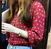 blouse,red with square pattern,dakota johnson,soft material