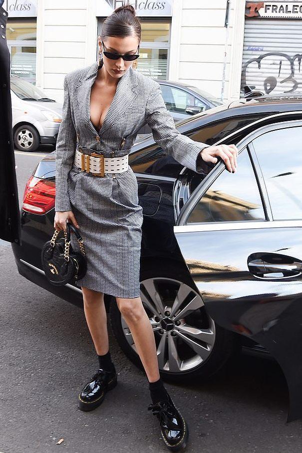 jacket celebrity model off-duty bella hadid midi skirt two-piece black and white blazer