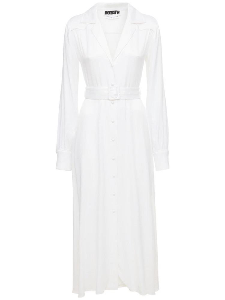 ROTATE Jolanda Viscose Blend Satin Midi Dress in white