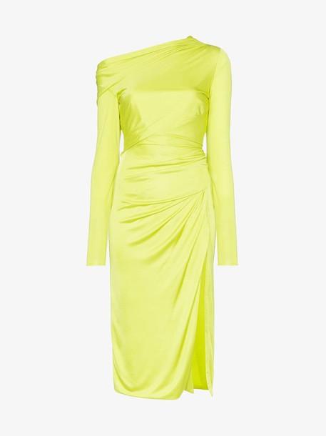 Versace off-shoulder draped dress in green