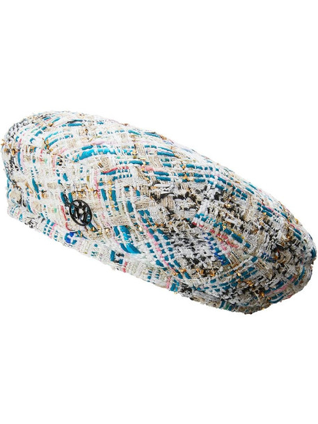 Maison Michel Flore tweed beret in white