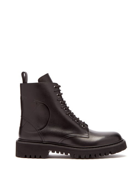 Valentino - V Logo Lace Up Leather Boots - Womens - Black