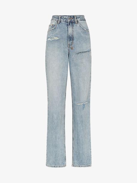 Ksubi X Kendall Jenner ripped straight leg jeans in blue