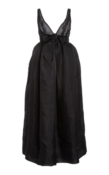 Brock Collection Bow-Front Silk V-Neck Dress in black