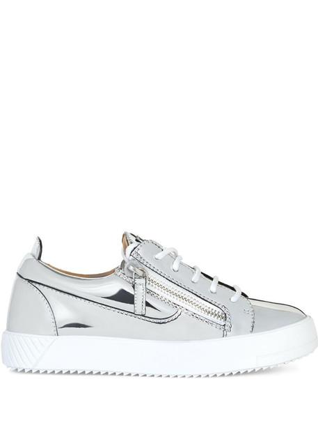 Giuseppe Zanotti metallic zipped sneakers in silver