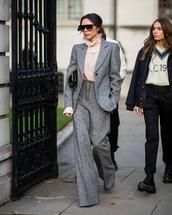 jacket,blazer,wide-leg pants,pink blouse,victoria beckham,black bag,handbag,sunglasses,classy